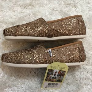 53d17774fcf Toms Shoes - TOMS classic rose gold lace glitz sequin sparkle